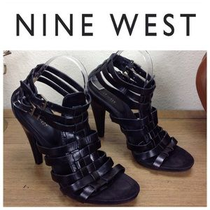 Nine West Black Woven Leather Gladiator Heels