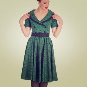 Hell Bunny Mimi Dress Green polka dots Size Small