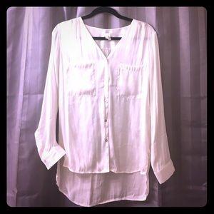 Off white H&M silk-like dress shirt