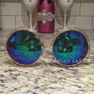 Blue Green Round Mirrored Sunglasses