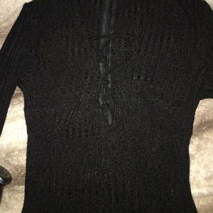 Black tie up one piece top
