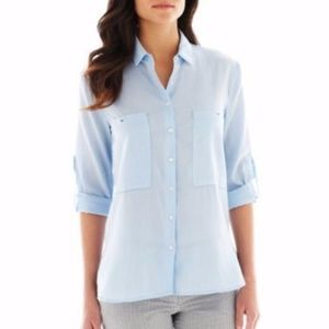 MNG blue oversized pocket button down