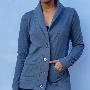 Gray Sweatshirt Cotton Long Sleeve Blazer