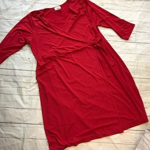 Plus size red faux wrap dress Chelsea studio