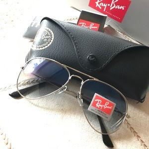Blue gradient rayban aviator sunglasses size 58