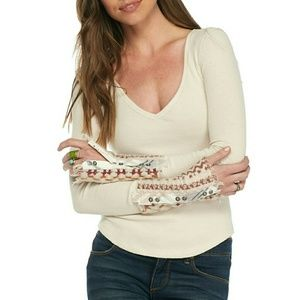 New! FREE PEOPLE Contrast Cuff Thermal Waffle Top