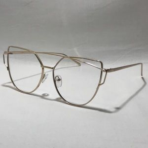 Gold Clear Lens Cateye Glasses