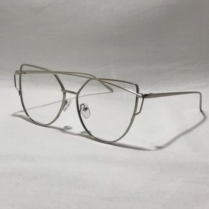 Silver Clear Lens Cateye Glasses