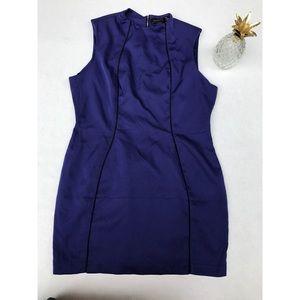 Anthropologie Bordeaux Blue Cap Sleeves Dress- L