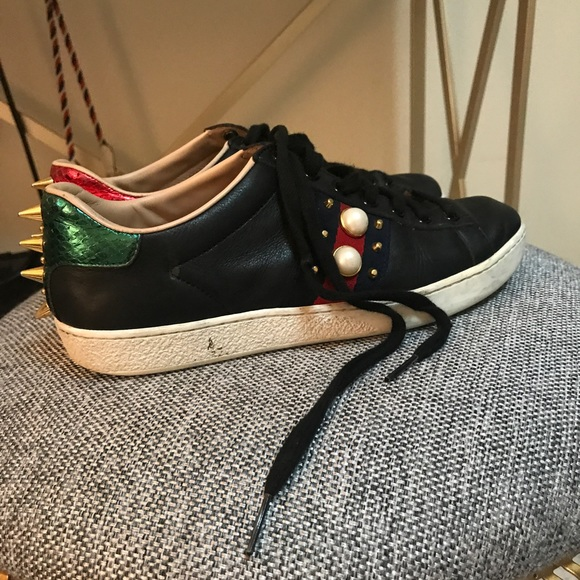 7ee7d9d87 Gucci Shoes | Ace Studded Leather Lowtop Sneaker | Poshmark