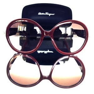 Round Salvatore Ferragamo Gancino Style Sunglasses