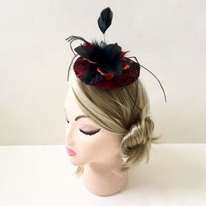 Accessories - Special Occasion Fascinator Feather Flowers & Lace
