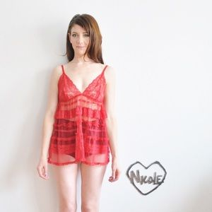 red ruffle lace babydoll mini slip lingerie dress
