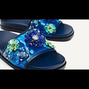 NWT Zara Jeweled Floral Slides
