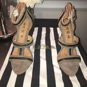LAMB suede and leather heels