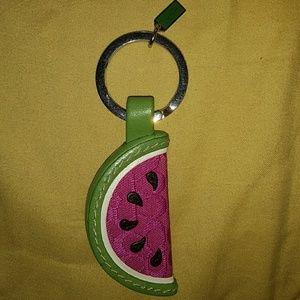 Coach Watermelon Key Fob Leather Keychain Key Ring