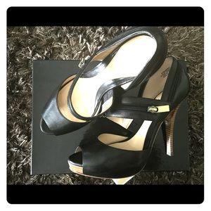Black Sandal-Like Heels; Peep Toe