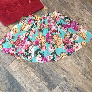 Brandy Melville OS Short Floral Circle Skirt