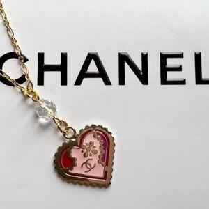 Authentic Chanel Enamel Heart Pendant Necklace