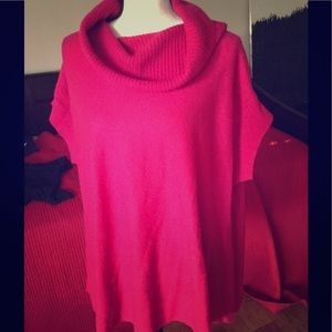 Hot pink 100% cashmere VINCE poncho sweater sz M