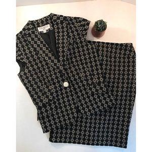 Sharango Suits Skirt And Jacket Suit Set B/W- 6
