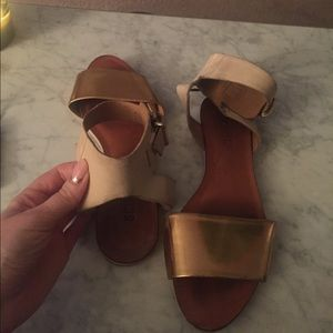 Gold and Tan Schutz Sandals, ladies size 7