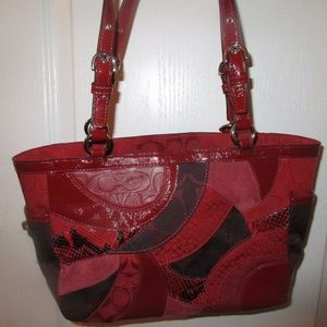 Coach red Patchwork tote