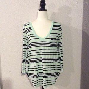 Mint Striped Merona Long Sleeve Top