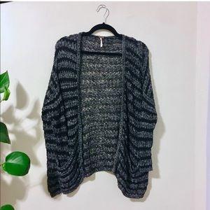 Free People Open Knit Gray Stripe Sweater Pockets