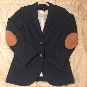 Blue blazer with elbow patch detail