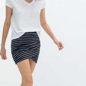 Zara TRF Draped Mini Skirt in Stripe