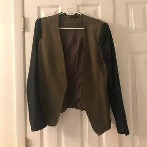 Theory Women's Blazer with Leather Sleeves