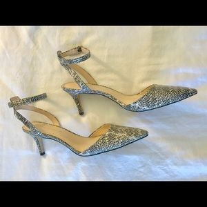 Chic snakeskin embossed leather sling backs