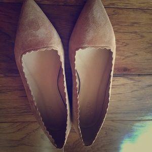 Mint suede beige scalloped j.Crew flats shoes sz 9