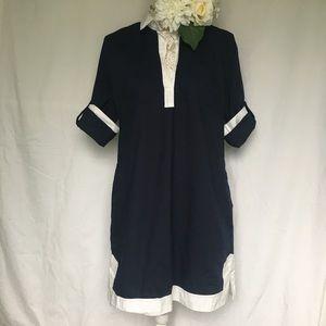 J. Crew // Camp Tunic Dress - navy, white
