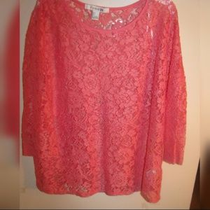 Forever 21 Large Floral Lace Long Sleeve Blouse