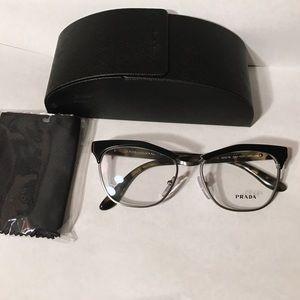 New Prada eyeglasses cat eye Black havana