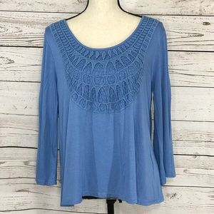 Cable & Gauge Crochet Detail 3/4 Sleeve Blouse New