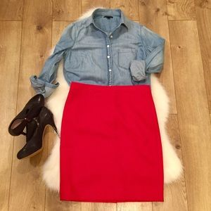 J. Crew•Red 💯% Wool•Red Pencil Skirt•6P