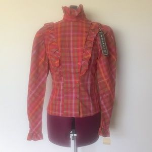 Vintage 80s Plaid Red Western Top Button Up XS S