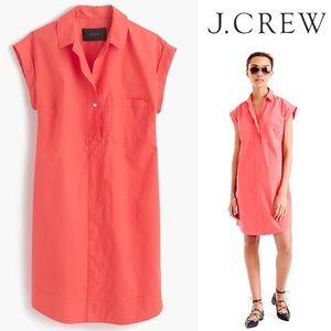 NWOT J. Crew Petite Cotton Shirt Dress Neon Coral