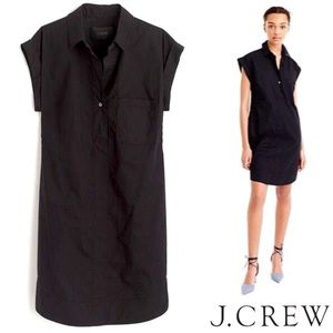 J. Crew Short Sleeve Cotton Shirt Dress Black