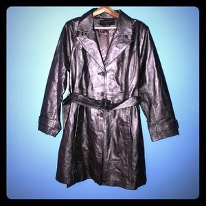 Centigrade Leather 1X silver leather trench coat