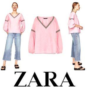 NWOT Zara Loose Linen Peasant Top Bubblegum Pink