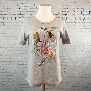 Alexander McQueen Embroidered Hummingbird Tee