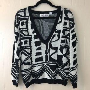 Vintage Deep-V Graphic Sweater