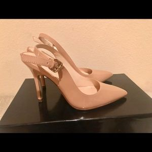 Boutique 9 pointe pumps sling back heels nude sz 6
