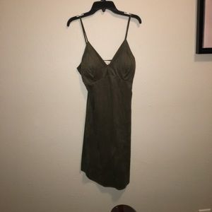 Faux suede olive green dress size medium