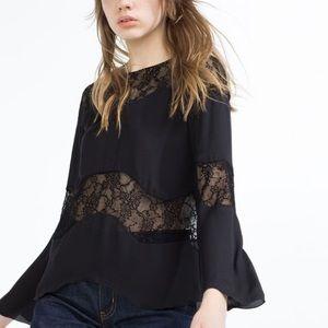 Zara Women Long Sleeve Lace Detailed Top