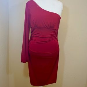 Size 6 Maggy London One Shoulder Sexy Red Dress!